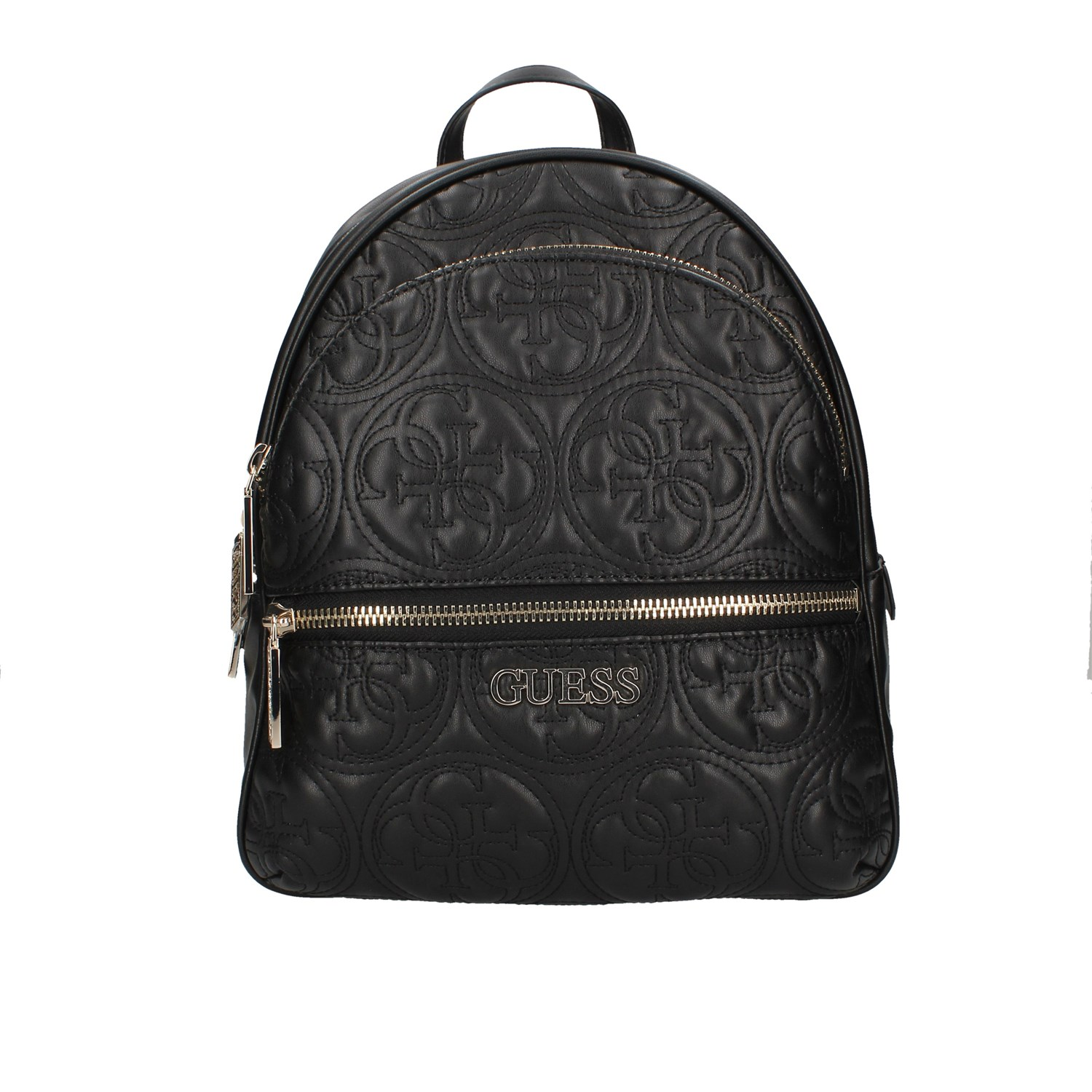 Bag backpack Guess woman eco leather black writing logo white shoulder straps