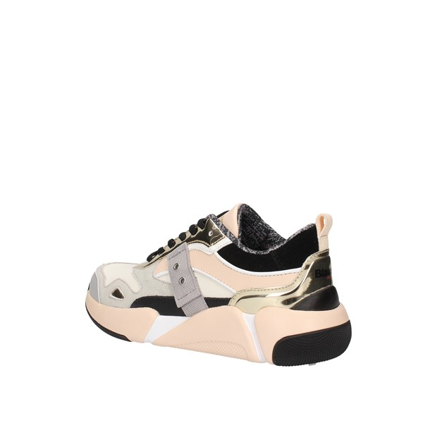 Blauer  low Nude / gold